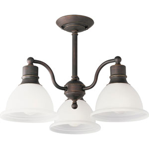 P3663-20:  Madison Antique Bronze Three-Light Semi-Flush