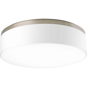 Maier Brushed Nickel Three-Light Fluorescent Flush Mount with White Acrylic Diffuser