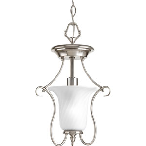 Kensington Brushed Nickel One-Light Flush Mount with Swirled Etched Glass Trumpet Shaped Shade