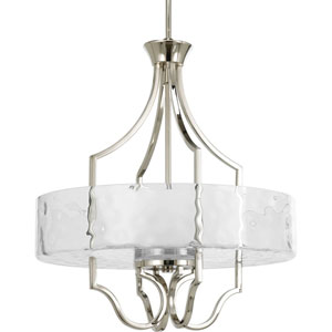 Caress Polished Nickel Three-Light Drum Pendant with Glass Diffuser
