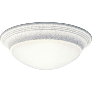 White One-Light Flush Mount with Alabaster Glass