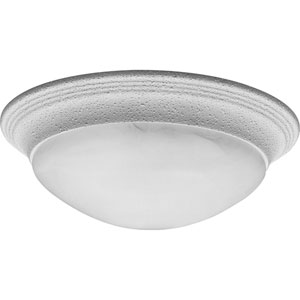 White Two-Light Flush Mount with Alabaster Glass