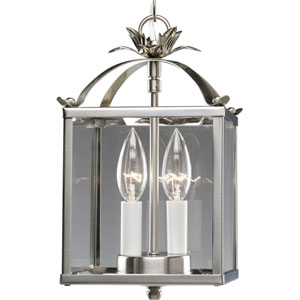 Flat Glass Brushed Nickel Two-Light Lantern Pendant with Clear Flat Glass