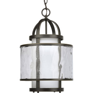 Bay Court Antique Bronze One-Light Lantern Pendant with Distressed Clear and Etched Opal Glass Cylinder