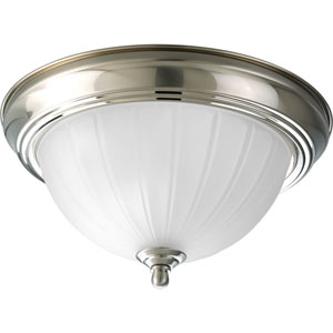 P3702-09WB Melon Glass Brushed Nickel One-Light Fluorescent Flush Mount