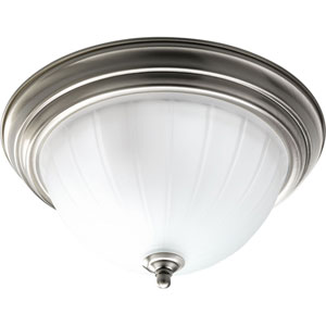 P3703-09WB Melon Glass Brushed Nickel Two-Light Fluorescent Flush Mount