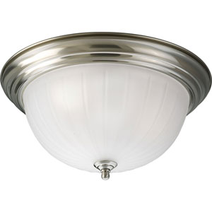 P3704-09WB Melon Glass Brushed Nickel Three-Light Fluorescent Flush Mount