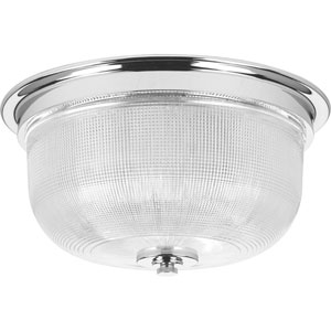Archie Polished Chrome Two-Light Flush Mount with Clear Double Prismatic Glass Bowl