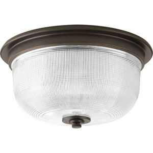 Archie Venetian Bronze Two-Light Flush Mount with Clear Double Prismatic Glass Bowl