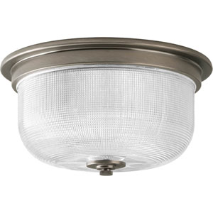 Archie Antique Nickel Two-Light Flush Mount with Clear Double Prismatic Glass Bowl