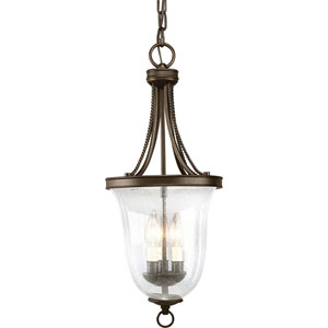 Seeded Glass Antique Bronze Three-Light Lantern Pendant with Clear Seeded Glass