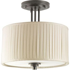 Clayton Espresso Two-Light Semi-Flush Mount with Cream Pleated Linen Shade