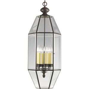 Bound Beveled Glass Antique Bronze Six-Light Lantern Pendant with Clear Beveled Glass Panels