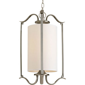 Inspire Brushed Nickel One-Light Pendant with Beige Linen Shade