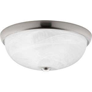 Random Brushed Nickel Three-Light Fluorescent Flush Mount with Alabaster Glass Bowl