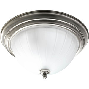 Melon Glass Brushed Nickel Two-Light Flush Mount with Etched Ribbed Glass Bowl