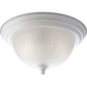 White Two-Light Flush Mount with Etched Ribbed Glass Bowl
