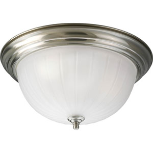 Melon Glass Brushed Nickel P3818-09 Three-Light Flush Mount with Etched Ribbed Glass Bowl