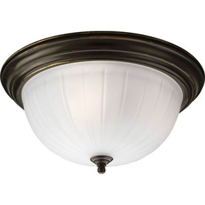 Melon Glass Antique Bronze Compact Fluorescent Three-Light Flush Mount with Etched Ribbed Glass Bowl