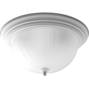 Melon Glass White Compact Fluorescent Three-Light Flush Mount with Etched Ribbed Glass Bowl