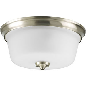 Lahara Brushed Nickel Two-Light Flush Mount with Etched Glass