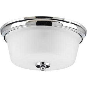 Lahara Polished Chrome Two-Light Flush Mount with Etched Glass