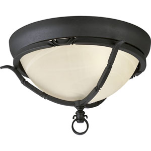 P3837-80:  Santiago Forged Black Two-Light Ceiling Light