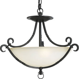 P3839-80:  Santiago Forged Black Three-Light Semi-Flush