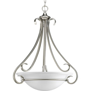 Torino Brushed Nickel Three-Light 27-Inch Bowl Pendant with Etched Glass Bowl
