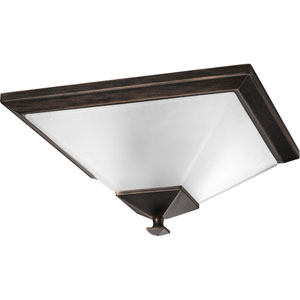 North Park Venetian Bronze Two-Light Flush Mount with Etched Glass