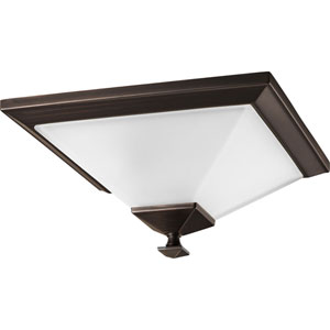 North Park Venetian Bronze One-Light Flush Mount with Etched Glass