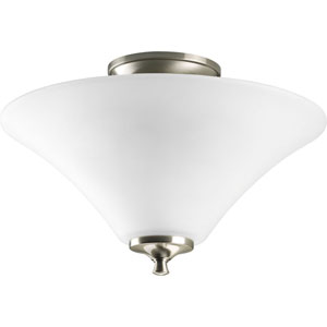 Janos Brushed Nickel Two-Light Semi-Flush Mount with Etched Glass Bowl