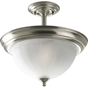 P3876-09 Brushed Nickel 13.5-Inch Two-Light Semi Flush Mount