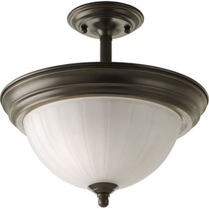 P3876-20 Antique Bronze 13.5-Inch Two-Light Semi Flush Mount
