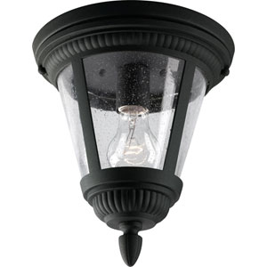 Westport Black One-Light Outdoor Ceiling Flush Mount with Clear Seeded Glass