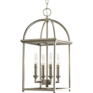 Piedmont Burnished Silver Four-Light Lantern Pendant with Matching Candle Sleeves