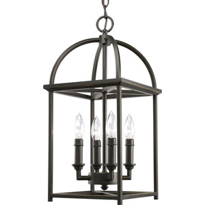 Piedmont Antique Bronze Four-Light Lantern Pendant with Matching Candle Sleeves