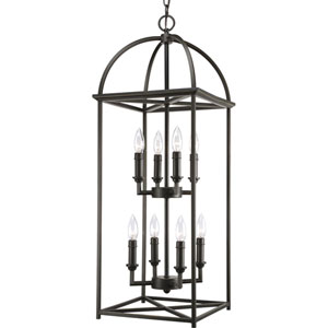 Piedmont Antique Bronze Eight-Light Lantern Pendant with Matching Candle Sleeves