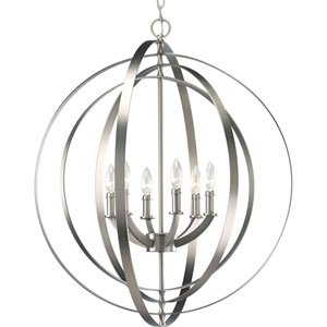 P3889-126:  Equinox Burnished Silver Six-Light Pendant