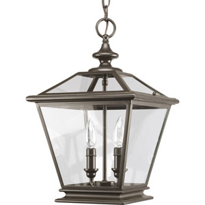 Crestwood Antique Bronze Two-Light Lantern Pendant with Clear Glass