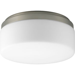 Maier Brushed Nickel Fluorescent One-Light Flush Mount with Opal Etched Acrylic Bowl