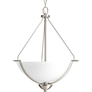 Bravo Brushed Nickel Three-Light Bowl Pendant with Etched Glass Bowl
