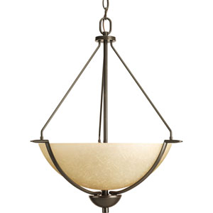 Bravo Antique Bronze Three-Light Bowl Pendant with Umber Linen Glass Bowl