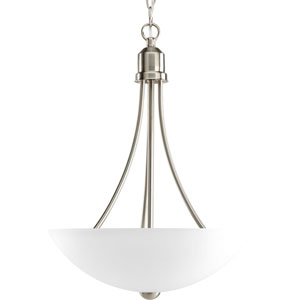 Gather Brushed Nickel Two-Light Fluorescent Bowl Pendant with Etched Glass Bowl