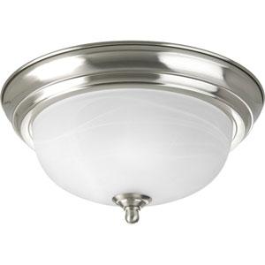 Brushed Nickel One-Light Incandescent Flush Mount with Alabaster Glass