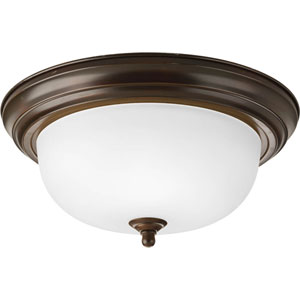 Antique Bronze Two-Light Flush Mount with Dome Shaped Glass