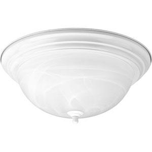 White Three-Light Flush Mount with Alabaster Glass