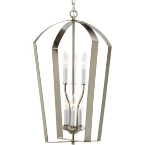 Gather Brushed Nickel Six-Light Lantern Pendant with White Finish Candle Sleeves