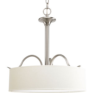 Inspire Brushed Nickel Three-Light Pendant with Beige Linen Shade