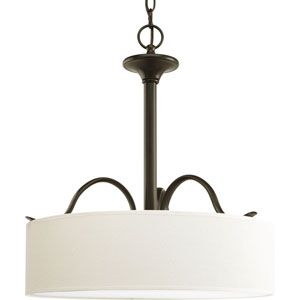 Inspire Antique Bronze Three-Light Pendant with Beige Linen Shade